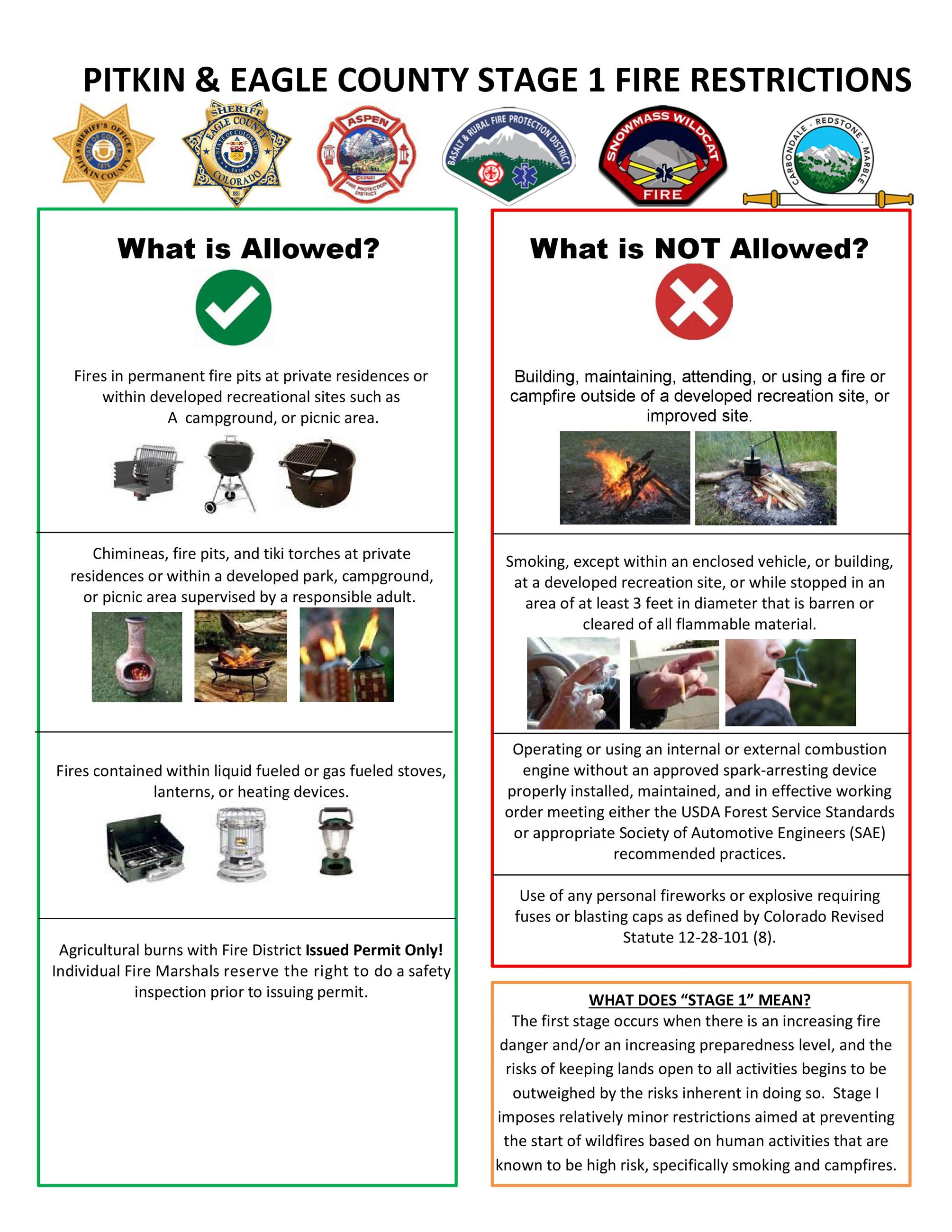 Dos and Donts - Stage 1 Fire Restrictions 2018